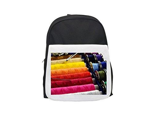 Yarn, Thread, Sew, Thread Spool printed kid's backpack, Cute backpacks, cute small backpacks, cute black backpack, cool black backpack, fashion backpacks, large fashion backpacks, black fashion backpa by PickYourImage