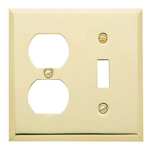 Baldwin Duplex Switchplate - Baldwin 4762.030.CD Classic Square Beveled Edge Duplex with Single Toggle Combo Switch Plate, Polished Brass - Lacquered