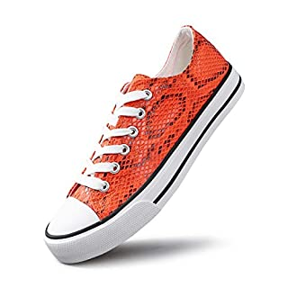 AOMAIS Womens Fashion PU Leather Sneakers Low Top Lace up Canvas Shoes… (Orange, 6)
