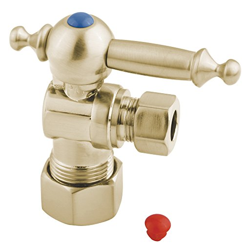 Kingston Brass CC53302TL Vintage 5/8-Inch X 3/8-Inch OD Compression Angle Stop with TL Handle, 2-3/4-Inch, Polished Brass