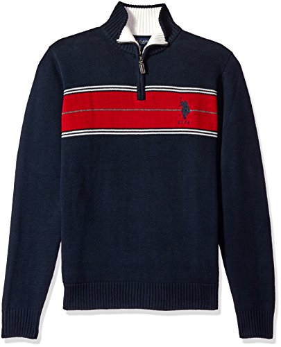 U.S.+Polo+Assn.+Men%27s+Chest+Stripe+1%2F4+Zip+Sweater%2C+Navy%2C+Large