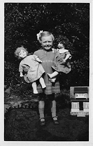 People and Children Photographed on Postcard, Old Vintage Antique Post Card Little girl with dolls Unused