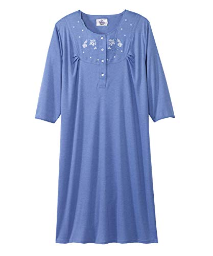 Silvert's Womens Adaptive Cotton Knit Hospital Gown - Assisted - Periwinkle LGE