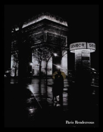 (Buyartforless Framed Paris Rendezvous 24x32 Art Print Poster Vintage Figurative Nighttime Man Kissing Woman's Forehead Yellow Umbrella Romantic Love)