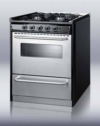 Summit Professional Series TNM21027BFRWY 30'' Slide-In Gas Range with 4 Sealed Burners 3.7 cu. ft. Oven Capacity Broiler Drawer Porcelain Surface and Electronic Ignition in Stainless by Summit