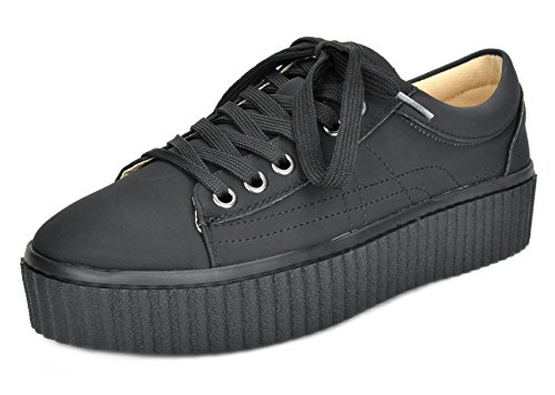 TOETOS Women's REINNA-01 Black Lace Up Platform Sneakers Shoes - 8 M US (Womens Platform Shoe)