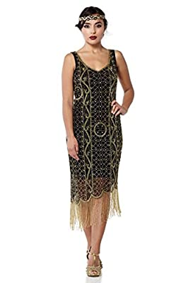Isabella Vintage Inspired Fringe Flapper Dress in Black Gold