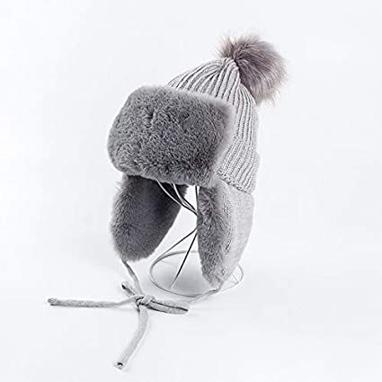 Amazon.com  ForShop Winter Bomber Hat for Woman Faux Fur Pompom ... e7ec434da941