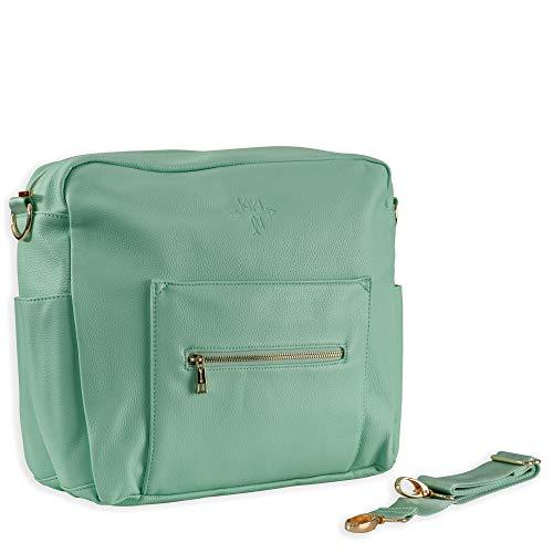 Kiki Lu Faux Leather Diaper Bag, Convertible Messenger/Backpack Purse (Mint) (Mint And Grey Diaper Bag)
