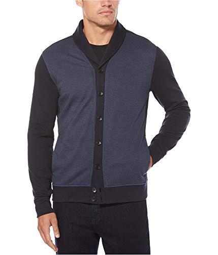 Birdseye Weave Cotton (Perry Ellis Men's Solid Texture Shawl Cardigan, Dark Sapphire, Extra Large)