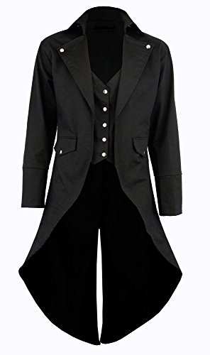 Men's Black Cotton Twill STEAMPUNK TAILCOAT Jacket Goth Victorian Coat/Trench (X-Large, Black)