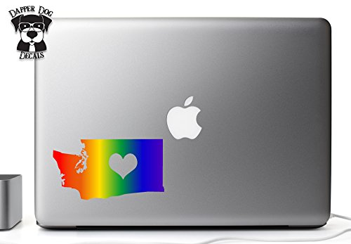 Full Color Washington Gay LGBT Rainbow Pride Proud I Heart My State 5