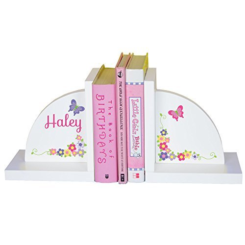 Girl's Personalized Butterfly & Flower Bookends Pastel