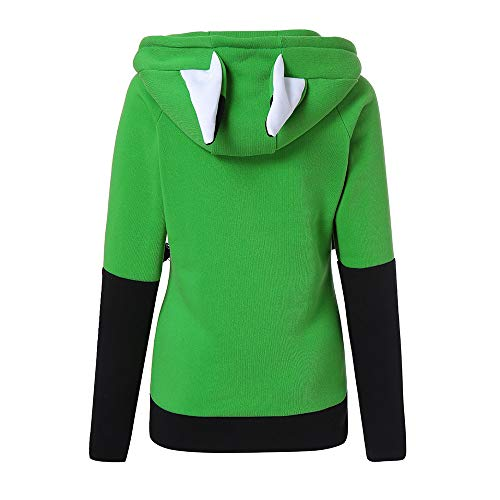 Ears Coats Jacket and Winter Sweatshirts Jackets Long Hooded Hoodie Ladies Women Green Sleeve Zip Coats Autumn Womens Outwear Fox Damark Patchwork up 5ZwFgXqHn