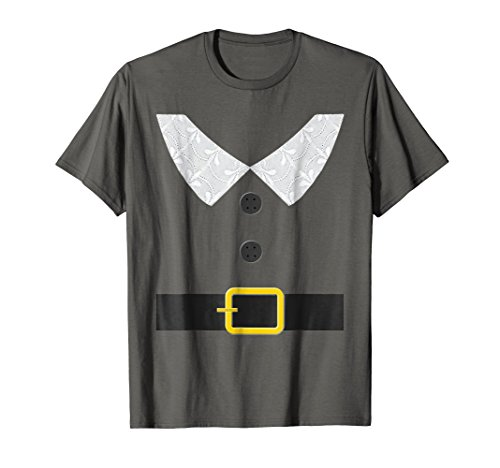 Funny Thanksgiving Pilgrim Outfit T Shirt Collar Belt Button