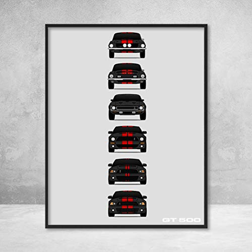 - Shelby Mustang GT500 Poster Print Wall Art of the History and Evolution of the Ford Shelby GT500 (Black Car, Red Stripes)