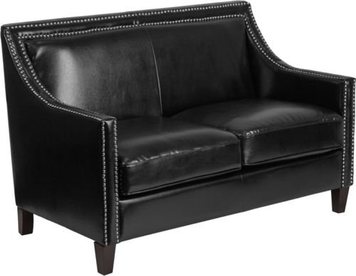 Traditional Black Leathersoft Office Lounge Guest Loveseat Chair with Silver Nailhead Trim