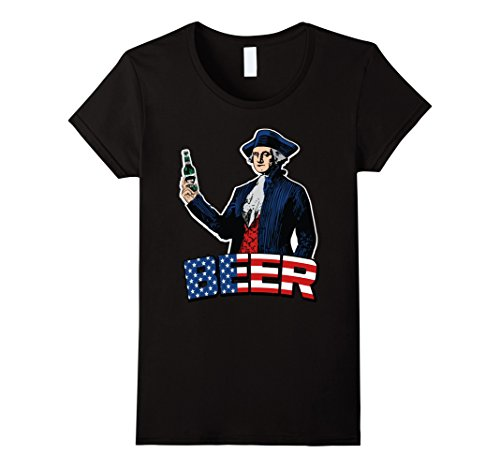 Womens Fourth of July BEER drinking T-shirt Small Black