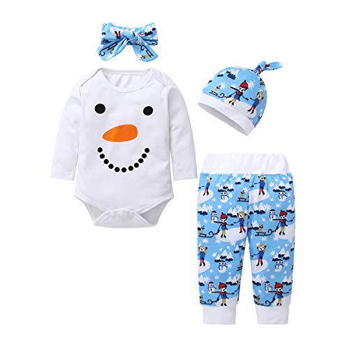 Zukuco Baby Girl Boy Clothes Snowman Romper Cartoon Prince Princess Pants Christmas Outfits Set(6-9 Months, White + Blue)