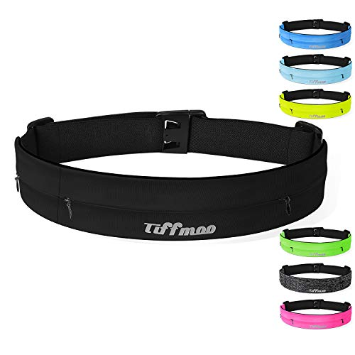 Tiffmoo Running Belt Fanny Pack, Adjustable Running Waist Belt Fits with 3 Zipper Pouches for All Models of Phones Holder in Running Jogging Hiking Cycling Climbing (Black)
