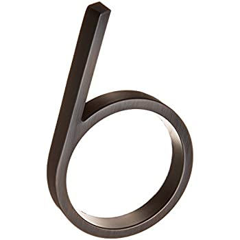 Distinctions by Hillman 843226 5-Inch Die Cast Floating/Flush Mount House Number, Aged Bronze, Number 6