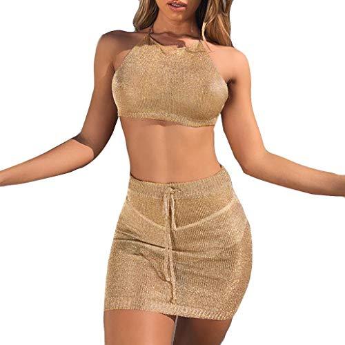 Kintaz Women#039s Cover Up Swim Crochet Mesh Bikini Swimwear Beach TopsSkirt Set Khaki S