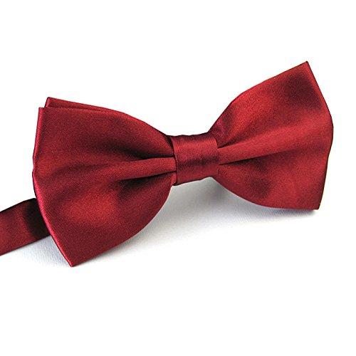 (Men's Pre Tied Bow Ties for Wedding Party Fancy Plain Adjustable Bowties Necktie (Dark Red))