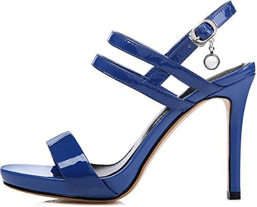 Calaier Donna Salbl 10cm Sandali Con Fibbia Stiletto Blu