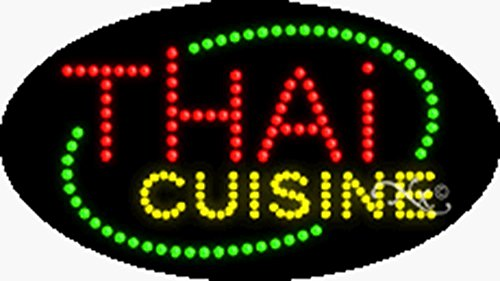 15x27x1 inches Thai Cuisine Animated Flashing LED Window Sign by Light Master