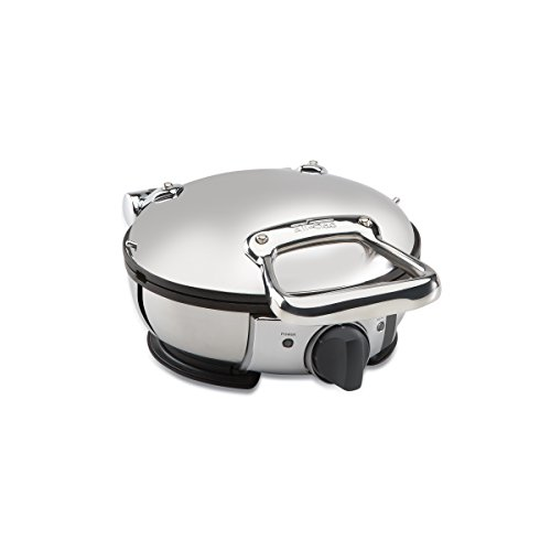 All-Clad-99012GT-Stainless-Steel-Classic-Round-Waffle-Maker-with-7-Browning-Settings-4-Section-Silver