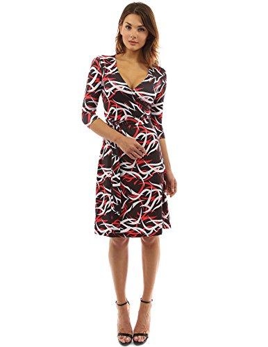 - PattyBoutik Women Faux Wrap A Line Dress (Red, Black and White Medium)