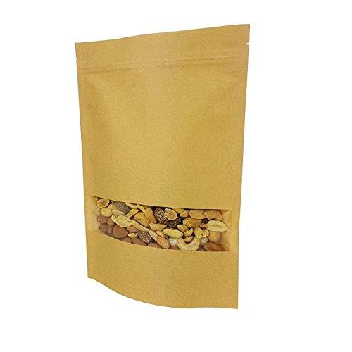 6789 Lot de 50 sachets zip en papier kraft /à fen/être 18+4x26cm