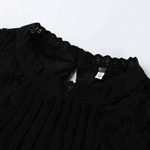 Nero Elegante Solido donna Autunno Casual Camicette Camicie Abcone Felpa Tops Maniche Pullover O T shirt Lunghe Pizzo collo TRPwfqp