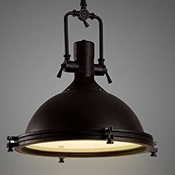Industrial Nautical Pendant Light LITFAD 16quot Wide Single With Frosted Diffuser Mounted Fixture