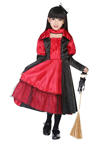 La Vogue Girls Devil Costume Halloween Party Fancy Dress Long Sleeve Role Play Dress Up Costumes Red