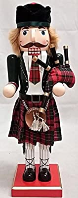 Scottish Bagpiper Wearing a Kilt Wooden Christmas Nutcracker 14 Inch