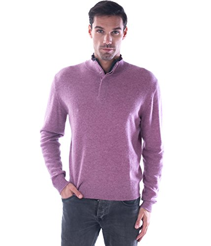 cashmere 4 U Men's 100% Pure Mongolian Cashmere Zipped Collar Truck Cashmere Sweater with Elbow Patches (X-Large, Classic with Gris Moyen Patch) - Men Elbow Patch Shirt