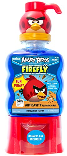 Firefly Angry Birds Anti-Cavity Fun Pump Mouth Rinse,Bubble gum flavor, 16 Fluid (Fun Gums)