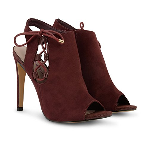Dolcis Ladies Faux Suede Peep-Toe Ankle Boot Womens Shoe Booty High Heeled Slingback Sandal Shoes Burgundy 3wbZ9VT