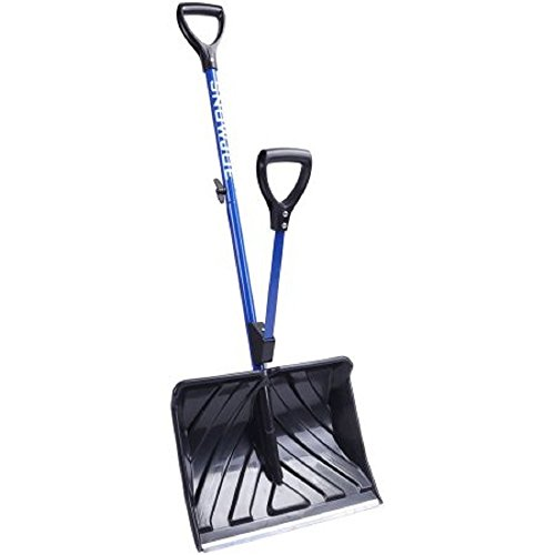 Snow Shovel with Spring-Assist Ergonomic D-ring Handle Grips