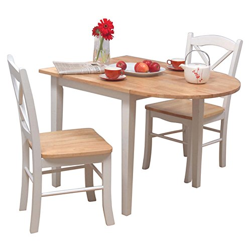 3 Piece Dining Room Set Furniture for 2, White/natural (Table Dining Extending Set)