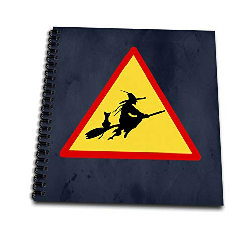 3dRose Sandy Mertens Halloween Designs - Witch Crossing with Black Cat and Broom Warning Sign, 3drsmm - Memory Book 12 x 12 inch (db_290246_2) ()