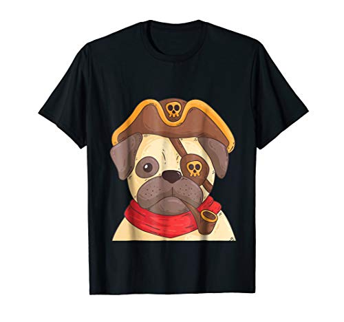 Cute Pug Dog with Pirate Costume T-shirt Gift Men Women -