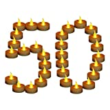 Tea lights,YIWER Flameless LED tea light candles 100 Hours Pack of 50 Realistic Flickering Bulb Battery Operated tea lights for Seasonal & Festival Celebration Electric Fake Candle in Warm Yellow(50)