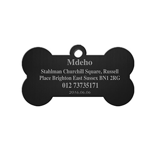 Stainless Steel Pet ID Tags Bone Shape Dogs Cats Personalized&Engraved Custom Identification Tag Charm Customized Pet Name,Owner Name,Telephone Number,Address Pet ID Plate Collar Gift