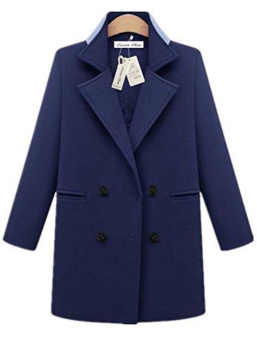 Season Show Women's Warm Classic Double Breast Wool-Blend Coat Jacket Navy L (Blue Tweed Wool)