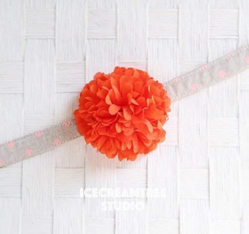 Pom Pom Bloom Collar Slide On, Flower Collar Accessories, Corsage Accessories, Collar Add On, Pom Pom - Orange