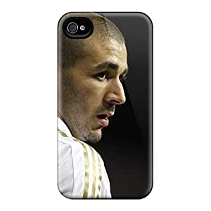 New Arrival Case Cover With GKYJg6679xMMGs Design For Iphone 4/4s- The Player Of Real Madrid Karim Benzema On The Black Background