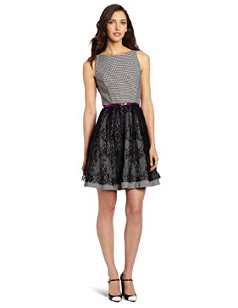 Jessica Simpson Women's Fit and Flare Dress, Black White, 8