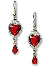 Red Heart Romance Dangle Earrings Austrian Crystals Thorns and Roses Silver Finish